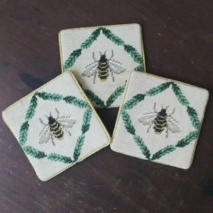 Bumble bee Cross stitch coasters set of 3